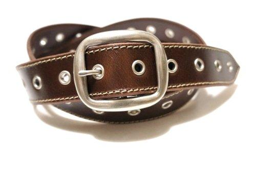 【スタイル ベルト belt店 SKY DARTS】スカイダーツ ハトメ ロング ベルト/ハトメが印象的な牛革ベルト (ダークブラウン)