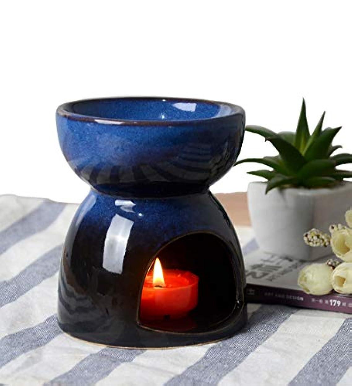 公労働打ち上げるHwagui お香 茶 香炉 アロマ炉 中空の彫刻工芸 癒し お茶の香り 陶器 置物 靑い