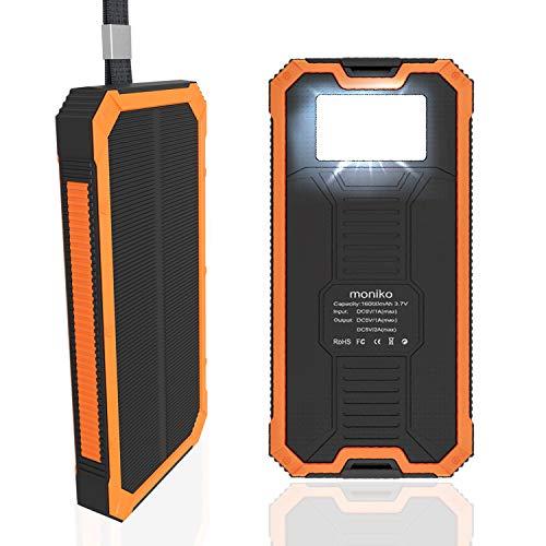 ソーラーチャージャー Moniko モバイルバッテリー 16000mAh 大容量 急速充電 携帯充電器 軽量小型 6連LEDライト搭載 2USB出力ポート 太陽光で充電でき 災害、出張 アウトドア iPhone/iPad/Android/タブレット/ゲーム機などの各種対応 防塵/耐衝撃/滑り防止 収納ボーチ付属