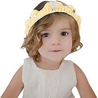 (コ-ランド) Co-land ヘアバンド ベビー 編み物 王冠 可愛い ヘアアクセサリー パール付き ニット 髪飾り 赤ちゃん 出産祝い 記念撮影 プレゼント イエロー