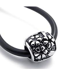 [テメゴ ジュエリー]TEMEGO Jewelry メンズステンレススチールヴィンテージペンダント刻印彫刻ビーズネックレス、調節可能なシリコーン鎖[インポート]