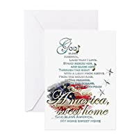 CafePress–God Bless America :–グリーティングカード、注意カード、誕生日カード、空白内側マット