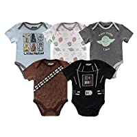 Star Wars Baby Boys Short Sleeve Onesie Bodysuits 5 Pack Gift Sets
