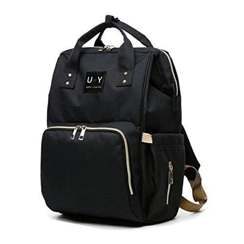 UY マザーズバッグ リュック 超便利な改良型Wファスナー 多機能 マザーズリュック 大容量 軽量 (ブラック)