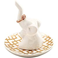 HomeSmile Good Luck White Elephant Ring Holder with Decorative Gold Design Dish