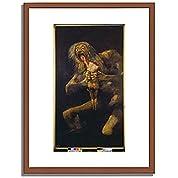 フランシスコ・ホセ・デ・ゴヤ Francisco Jos? de Goya y Lucientes「我が子を食らうサトゥルヌス Saturn Devouring one of his Children. 1820-23 」 インテリア アート 絵画 プリント 額装作品 フレーム:木製(茶) サイズ:XL (563mm X 745mm)