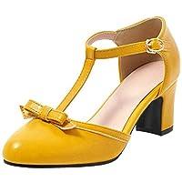 [Kaizi Karzi] 靴 レディース かわいい シューズ リボン 大きいサイズ パンプス Tストラップ 靴 太ヒール 痛くない 39AS Yellow