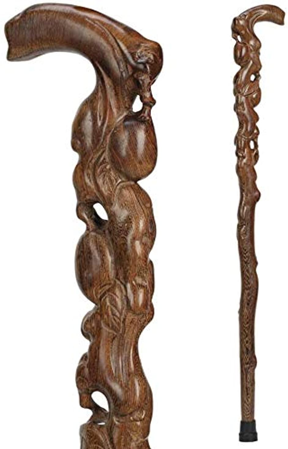 わずらわしい市の花ジャムBAORIは、男性と女性の天然木のために木の棒を刻まれた伝統的な木製35インチの滑り止めラバーチップを貼り、,インクルード
