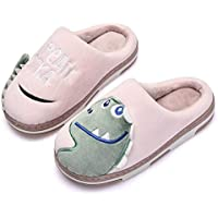 Kids Slippers, Anti-Slip Plush Animal Winter Warm Cotton Shoes Toddler Indoor Outdoor Shoes, TPR Soft Sole,Pink,22/23