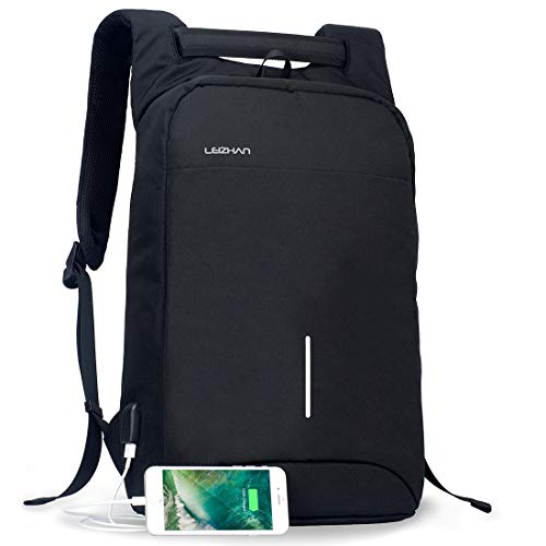 LEIZHAN backpack for laptop notebook 盗難防止 ビジニス ファッション おしゃれ usb充電付け 15.6インチ 男性向け 女性向け 学生向け バックパック day pack(ブラック)
