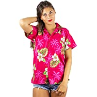 V.H.O Funky Hawaiian Shirt Blouse Women Shortsleeve Frontpocket Hawaiian-Print Leaves Flowers Allover