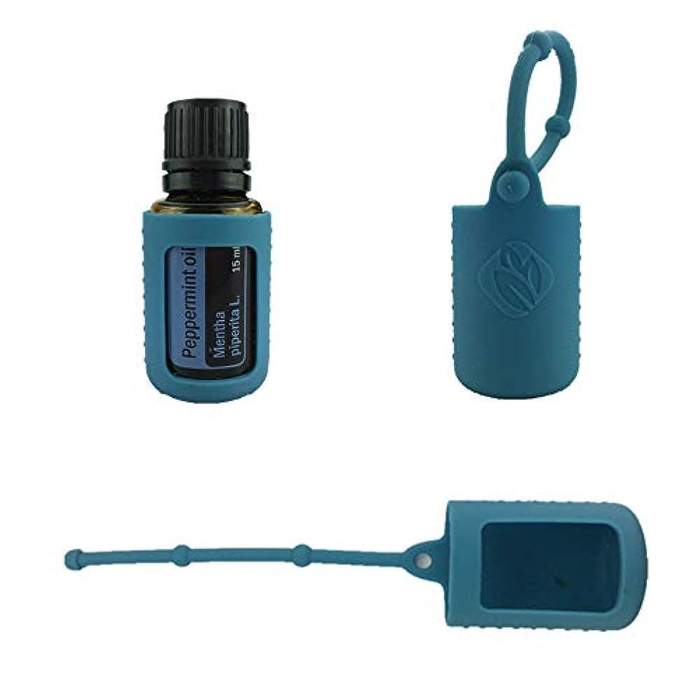 不快のぞき見ランチ6パック熱望オイルボトルシリコンローラーボトルホルダースリーブエッセンシャルオイルボトル保護カバーケースハングロープ - ダンク ブルー - 6-pcs 15ml