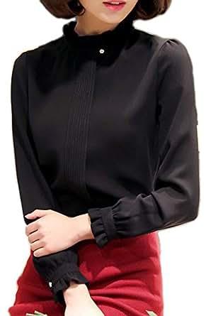 (エンジェルムーン) AngelMoon ブラウスOL 襟 長袖 シフォン レディース (S, 黒色)