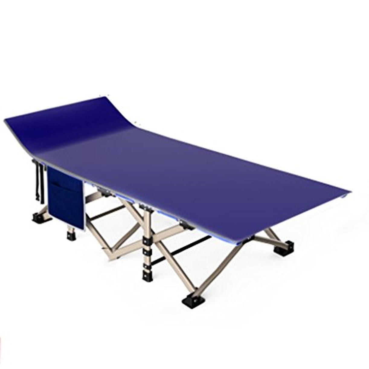前文悪用弱点折りたたみ式ベッド 屋外折りたたみベッドシングルベッドシエスタベッドシンプルな布ベッドキャンプベッドベッド同伴190 * 67 * 35センチメートル (Color : Blue)