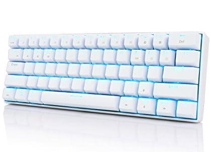 RK ROYAL KLUDGE RK61メカニカル式 キーボード 青軸 Bluetooth ワイヤレス USB 有線/無線 Windows/Mac/IOS/Androidに対応 スマホ/タブレット/パソコン(ipad iphoneなど)通用 軽量 コンパクト 白