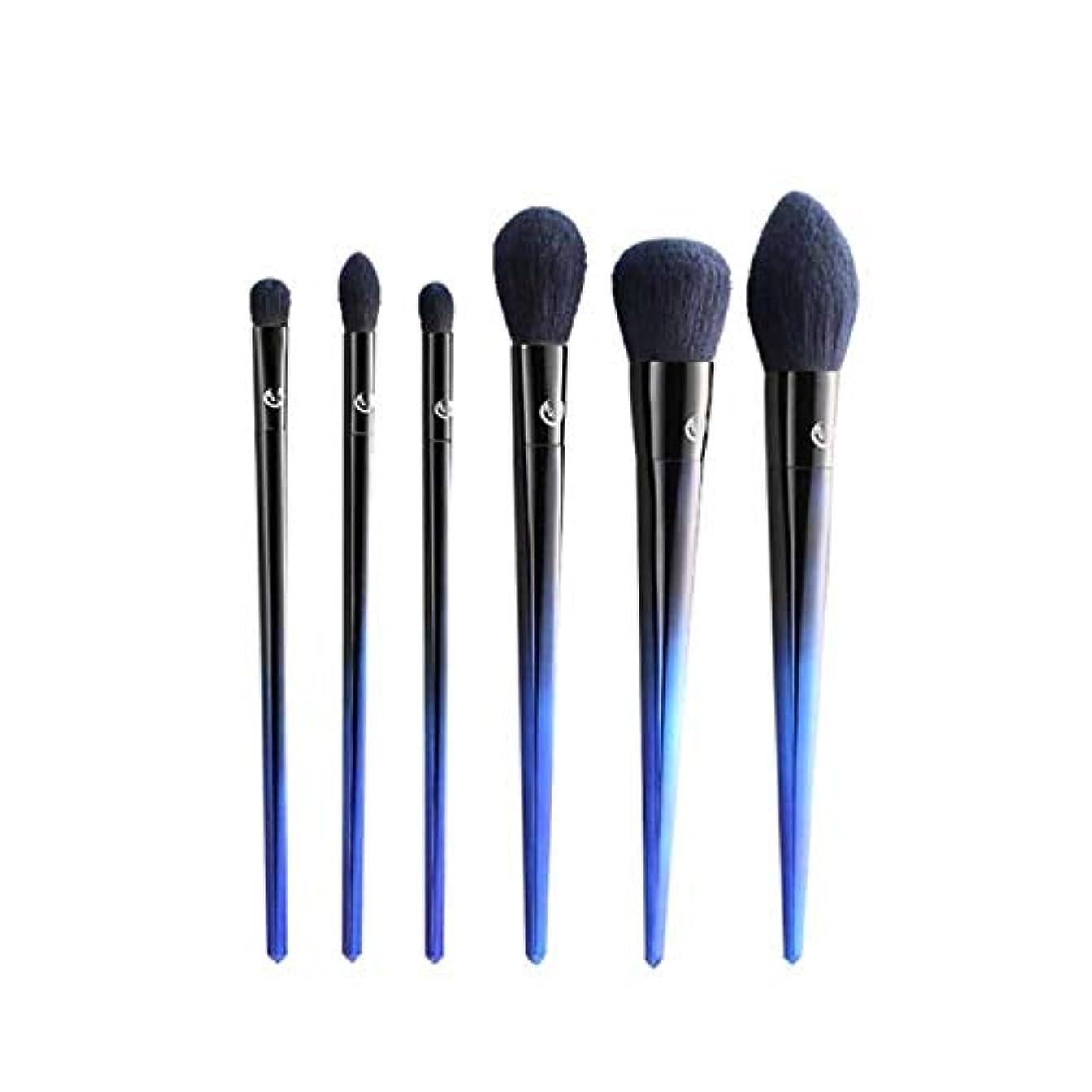 八百屋さん現代信号TUOFL メイクブラシ、6つのメイクブラシセット、アイ?フェイシャル?ルースパウダーブラッシュスマッジ美容ツール、プロフェッショナル初心者メイクアップツール、ブルー (Color : Blue)