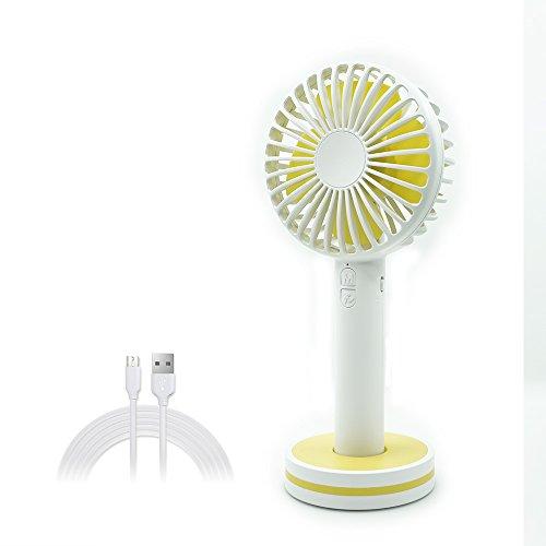 Teslong® 充電式 USB扇風機 携帯扇風機 静音 ミニ扇風機 手持ち 化粧鏡扇風機 卓上扇風機 ボタン 強風 3階段 風量調節 小型扇風機 2000mAhバッテリー 電池内蔵 化粧鏡付 4枚羽根(白)