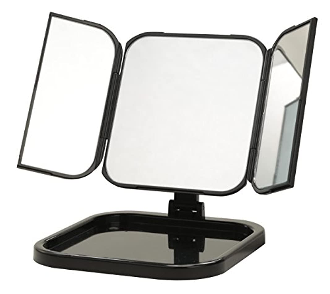 もの地中海トランジスタ永井興産 コンパクト三面鏡 WITH (ウィズ) ブラックNK-265