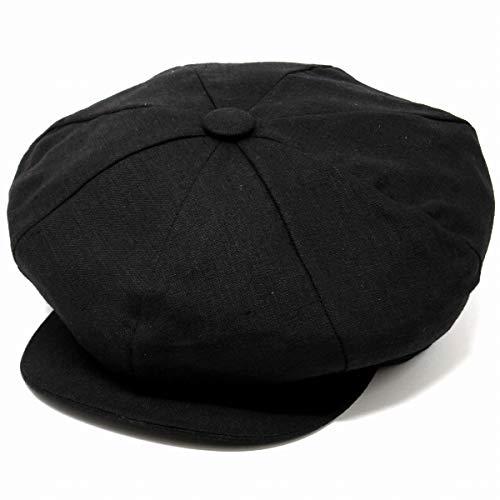(ニューヨークハット) NEW YORK HAT ハンチング キャスケット リネン 麻 ビッグアップル 春夏 フリーサイズ (約56.5cm-約59cm) ブラック