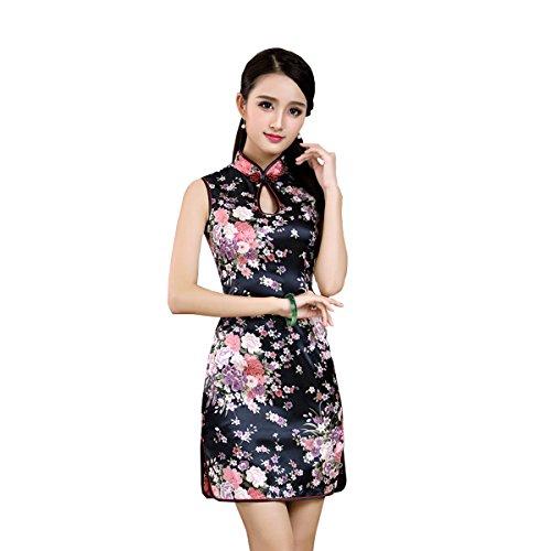 [해외](후쿠 마루) 꽃 무늬 미니 반팔 광택 있고 가슴 엽니 치파오 여성 중화 풍 파티 원피스/(Fukumaru) Flower Pattern Mini Short Sleeve Glossy Chest Open China Dress Women`s Chinese Party One Piece