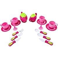 PowerTRC ®デラックスピンクTea Set for Kids with Tea Pots、カップ、料理キッチン用品を( 18個)