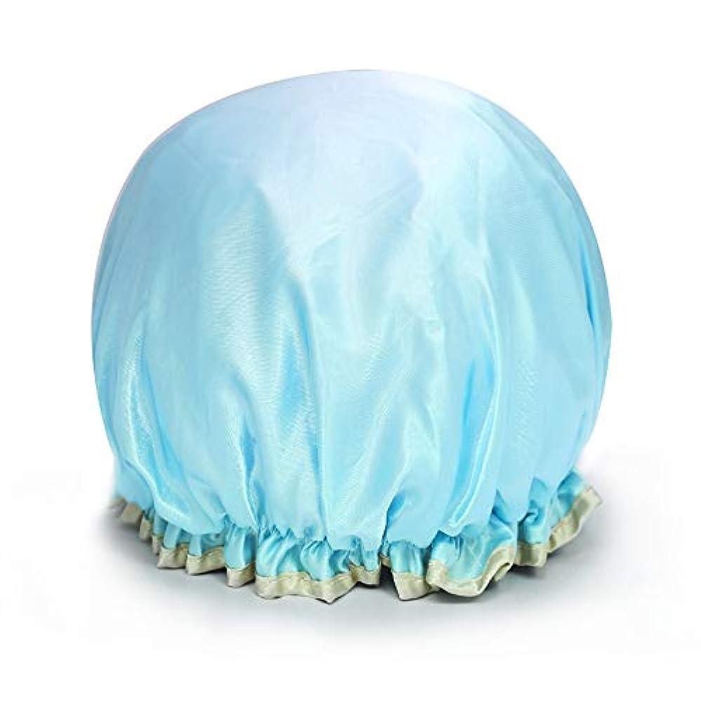 編集者摩擦男やもめYushulinfeng シャワーキャップダブル防水シャワーキャップお風呂シャワーキャップシャンプーキャップかわいい帽子キッチンレディアンチヒュームキャップヘアカラーキャップ (Color : Lake blue)