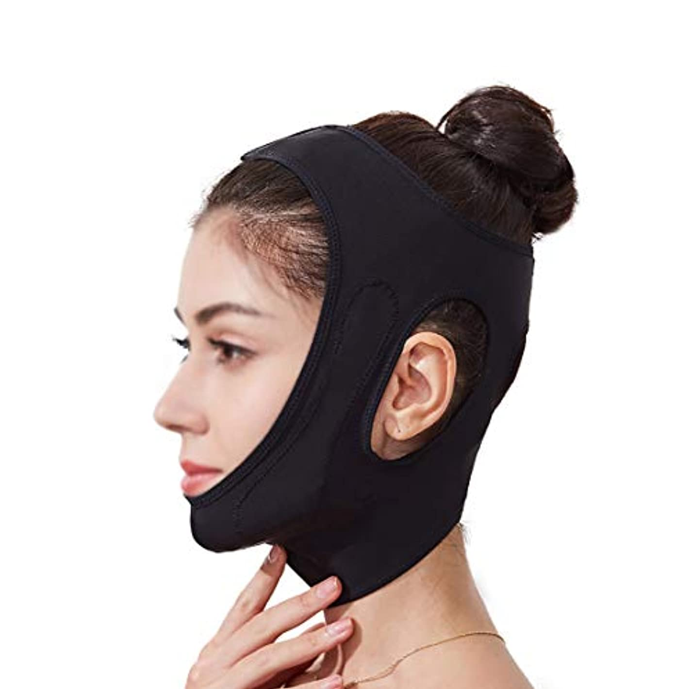 寛容な変位原理フェイスリフティングマスク、360°オールラウンドリフティングフェイシャル輪郭、あごを閉じて肌を引き締め、快適でフェイスライトをサポートし、通気性 (Size : Black)