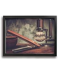 魅力的な芸術 30x40cm Shaving Accessories On A Luxury Wooden Background キャンバスの壁アート 画像プリント絵画リビングルームの壁の装飾と家の装飾のための現代アートワークハング...