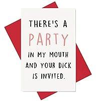 Party in My Mouthバースデーカード いたずら記念カード ボーイフレンド 夫の婚約のための面白いカード