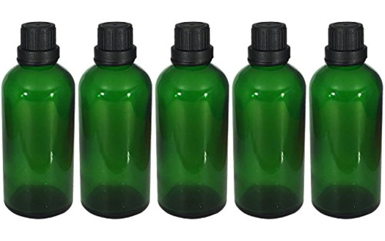 付ける異形市場遮光瓶 100ml 5本セット ガラス製 アロマオイル エッセンシャルオイル 保存用 緑色 グリーン