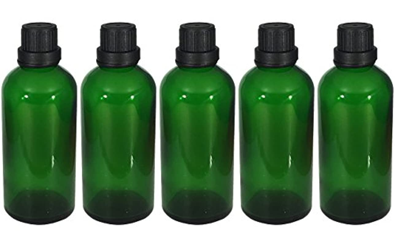 独特の繊毛バイオリニスト遮光瓶 100ml 5本セット ガラス製 アロマオイル エッセンシャルオイル 保存用 緑色 グリーン