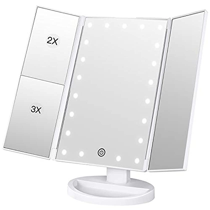 スパイラルリンク沼地BESTOPE 化粧鏡 化粧ミラー 鏡 三面鏡 女優ミラー 卓上 led付き 折りたたみ 拡大鏡 2&3倍 明るさ調節可能 180°回転 電池&USB 2WAY給電