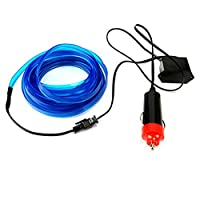 Liebeye 柔軟なネオンライト カーワイヤーロープチューブ ストリップ 防水パーティー装飾ランプ 12Vのコントローラ 5M ブルー USBソケット