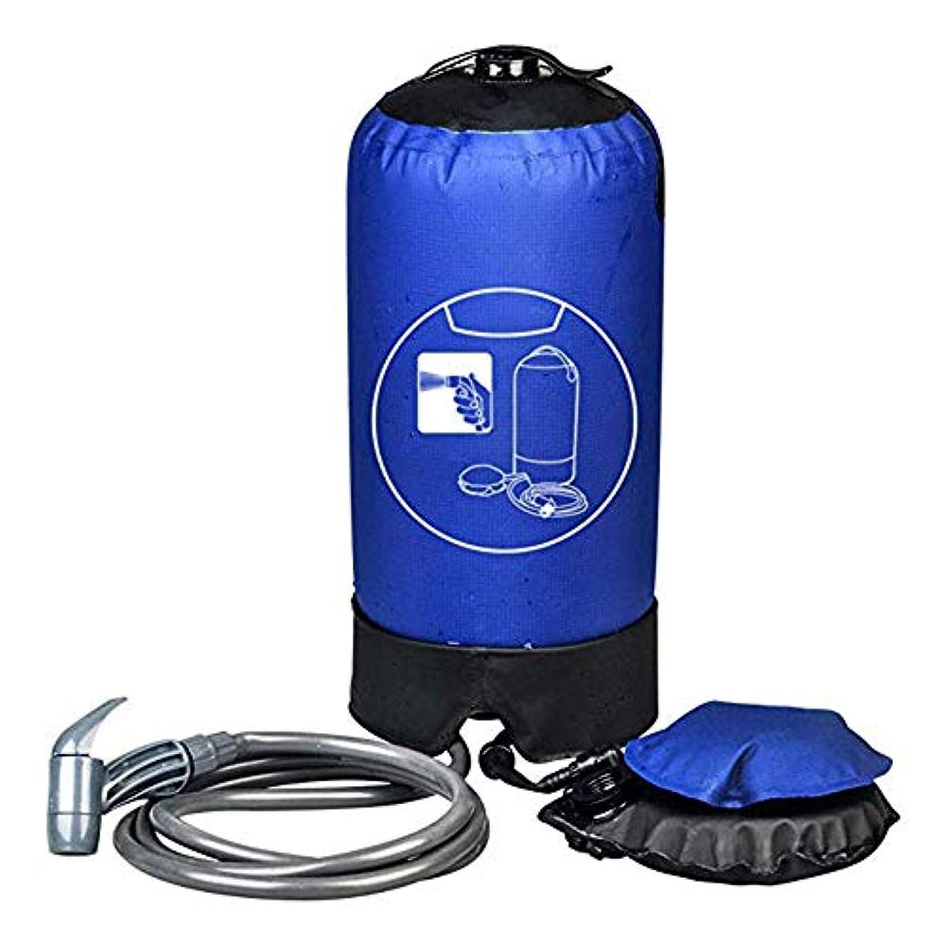 ライラック有力者みフットポンプキャンプシャワー、15L シャワーバッグポータブル OutdoorCamping ハイキングパックフットポンプとプレスタイプシャワーノズル付きバックパック旅行
