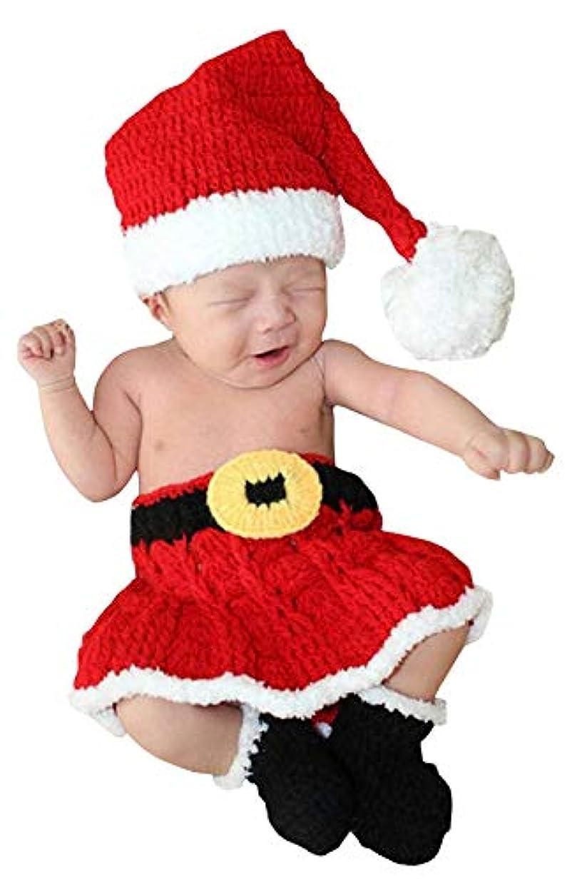 (コ-ランド) Co-land ベビー服 寝相アート コスチューム 女の子 男の子 着ぐるみ クリスマス サンタクロース 3点セット ハロウィン 仮装 新生児 記念撮影 レッド