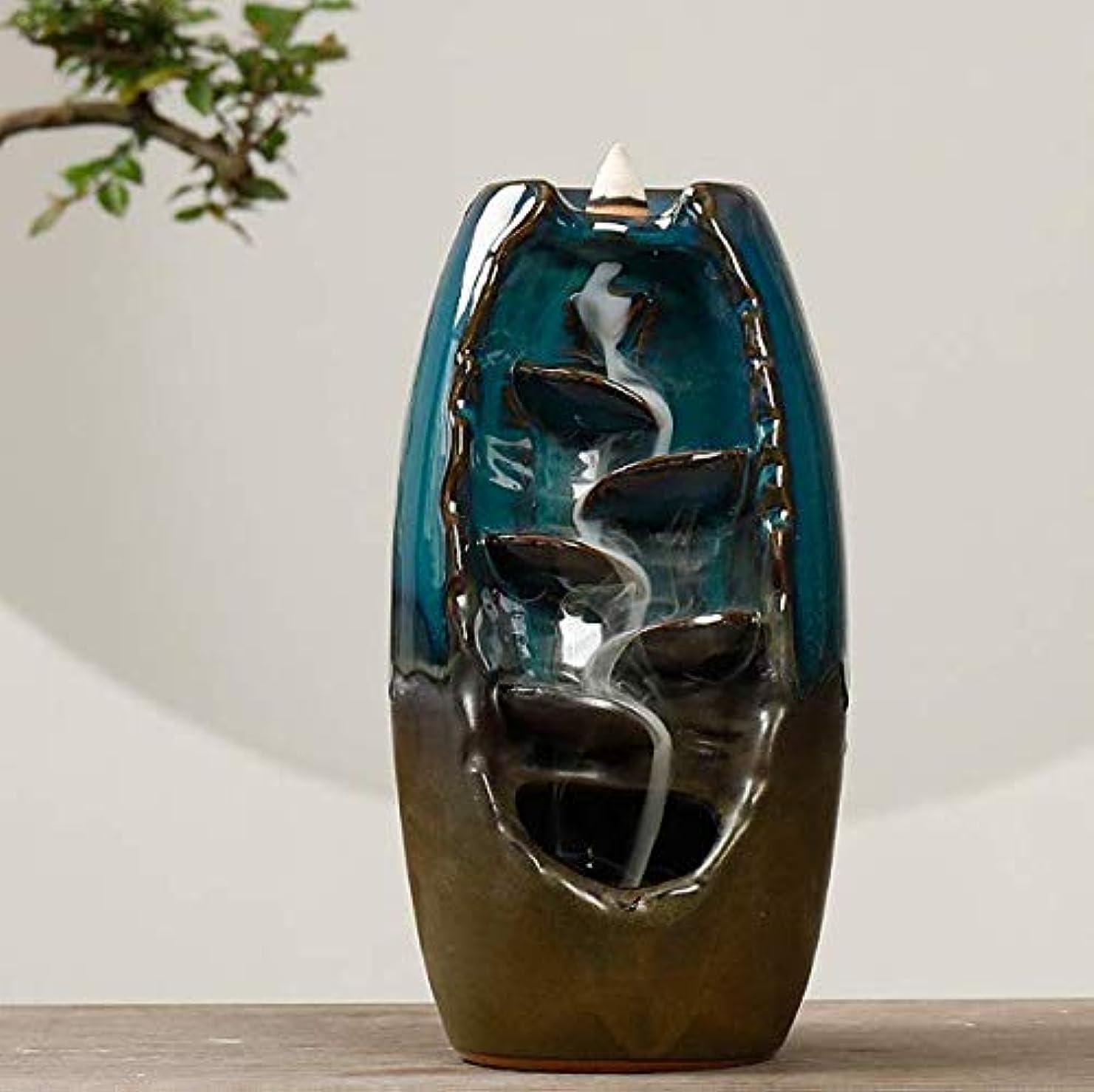 (Baoxinjp)倒流香炉 磁器 セラミックス 金属 蓋 防火 お香用 線香立て 缐香用 盤香用 落ち着く アロマ 陶器 簡潔 レトロ風 高級感 優美な境地 緑