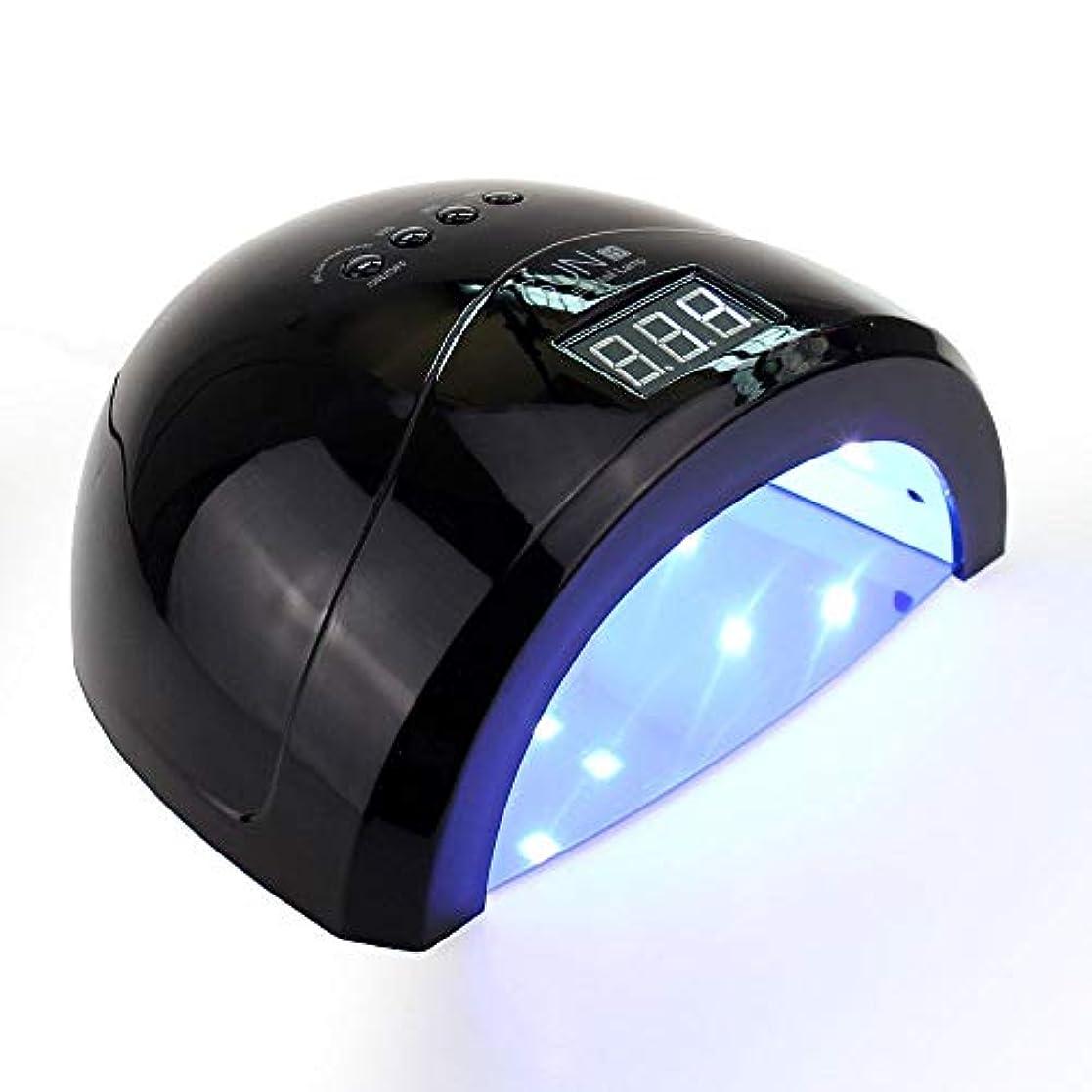 48wネイルドライヤーランプ、導かれた紫外線ネイルランプ、センサー/タイマーの設定が付いている釘治癒ランプライト10s 30s 60sビルダーゲル,Black