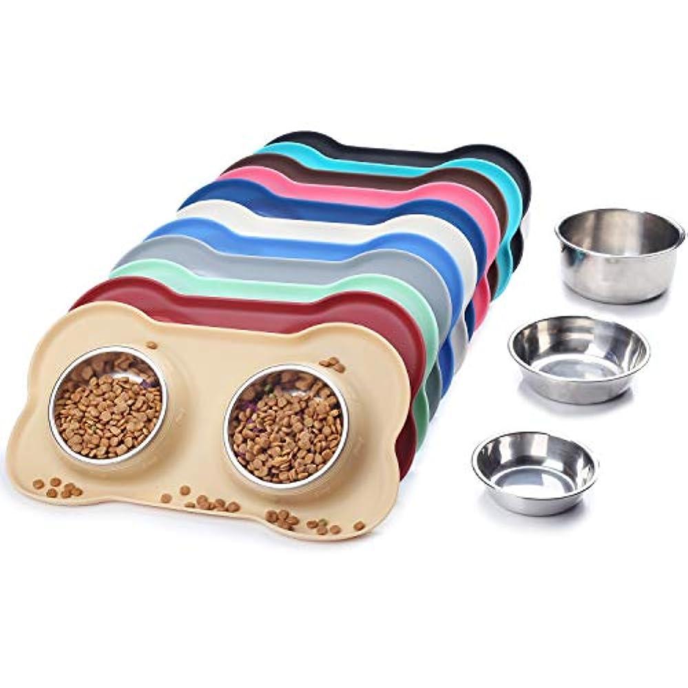 Vivaglory 犬 食器 ステンレス ペット ボウル 水ボウルとご飯食器 滑り止め こぼれにくい ひっくり返りにくい シリコン マット 犬 皿 ペット 子犬向き カーキ色