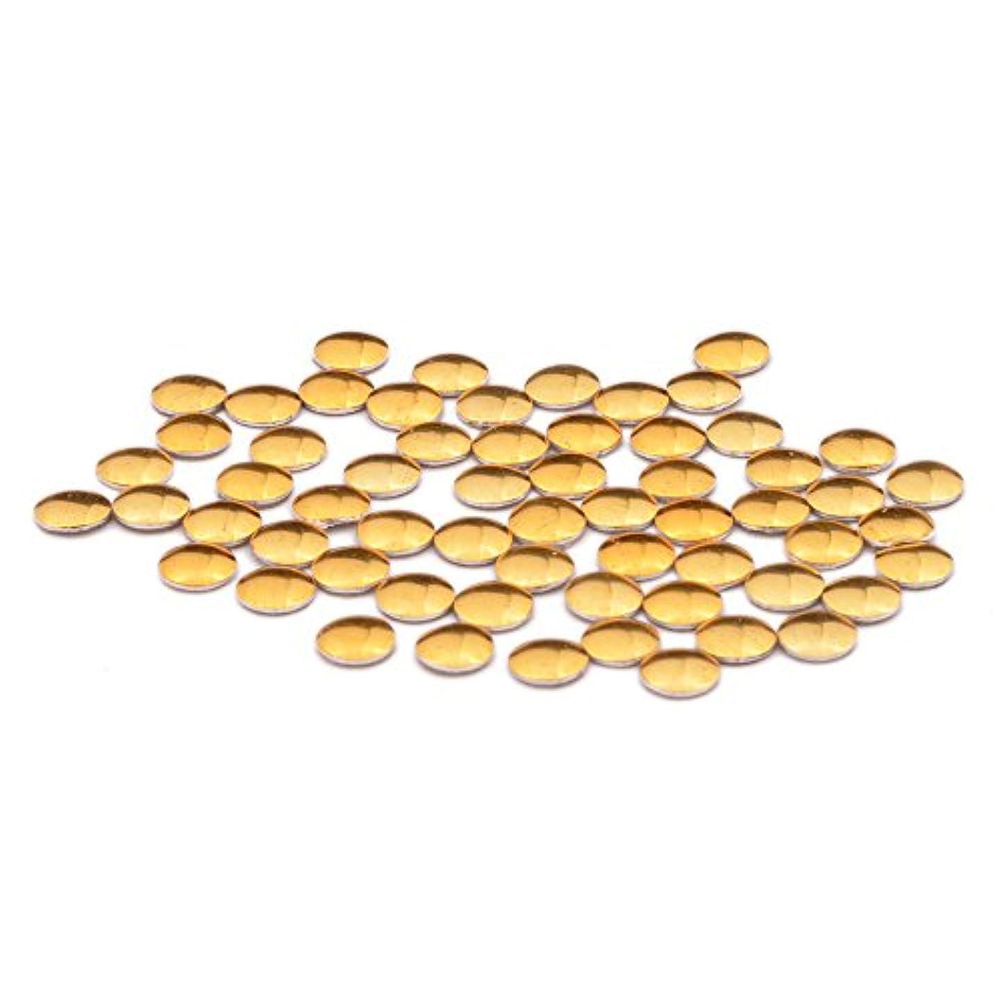 脅威巻き取り記念碑的なラウンド メタルスタッズ 丸型(0.8mm/1mm/1.2mm/1.5mm/2mm/2.5mm/3mm)約50粒入り (2mm, ゴールド)