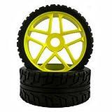 1/8 ラジコン バギータイヤ タイヤホイール 4本セット 17mm HEX オフロード オンロード 模型 黄 イエロー