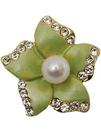 [enyapearl] アコヤ真珠 ピンブローチ お花のデザイン パールブローチ (黄緑)