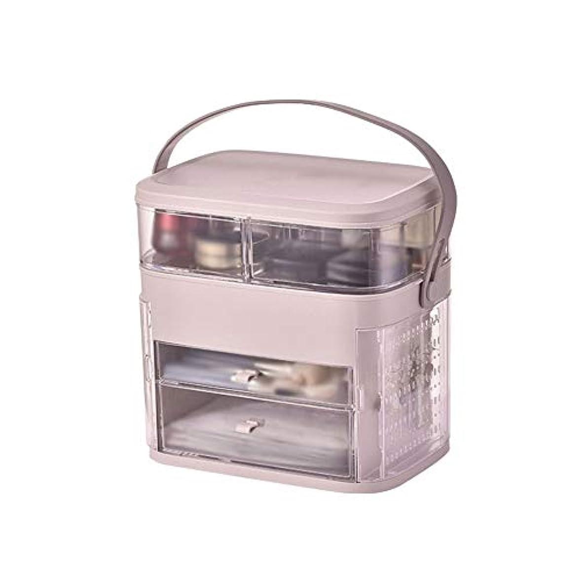 合わせてラジエーターラフトメイクボックス イヤリング収納 コスメボックス 化粧品収納ボックス スキンケア用品収納 洗面所 透明 手提げ付き 持ち運び 旅行 トラベル 大容量 シンプル ジュエリー収納 ホワイト ピンク