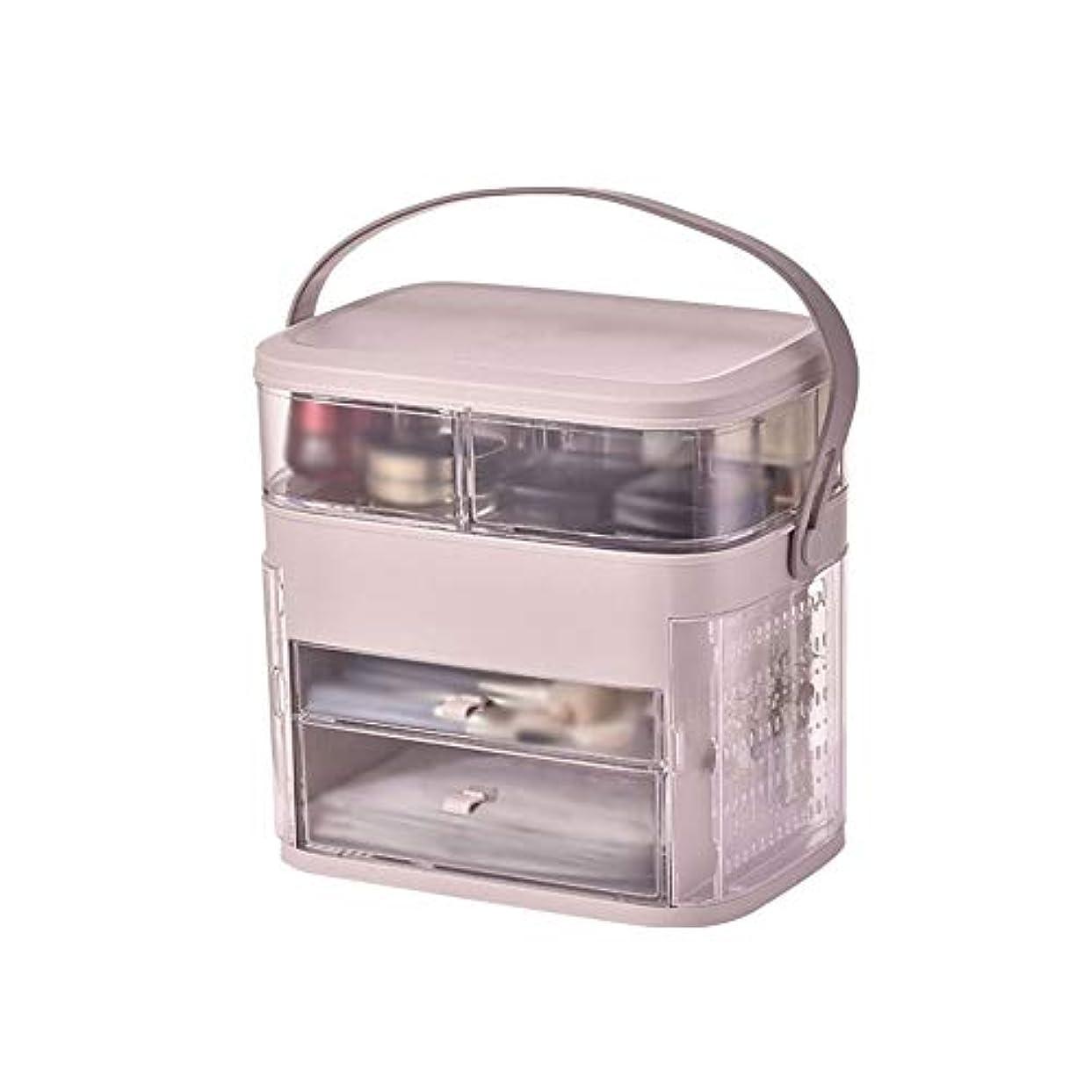 お父さんトンネル暴動メイクボックス イヤリング収納 コスメボックス 化粧品収納ボックス スキンケア用品収納 洗面所 透明 手提げ付き 持ち運び 旅行 トラベル 大容量 シンプル ジュエリー収納 ホワイト ピンク