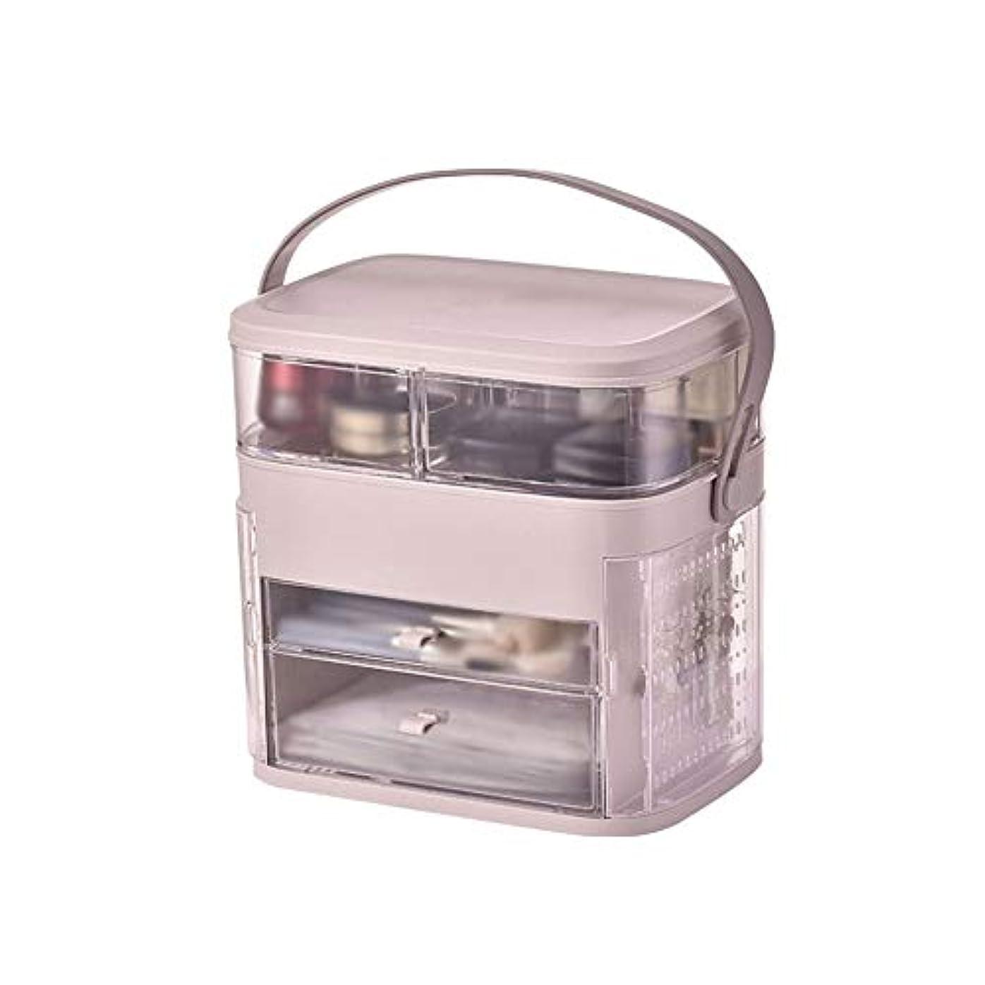 町スタッフ分配しますメイクボックス イヤリング収納 コスメボックス 化粧品収納ボックス スキンケア用品収納 洗面所 透明 手提げ付き 持ち運び 旅行 トラベル 大容量 シンプル ジュエリー収納 ホワイト ピンク