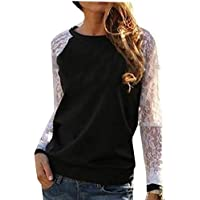 omniscient Women's Casual Lace Patchwork Round Neck Long Sleeve Loose Tops Blouses