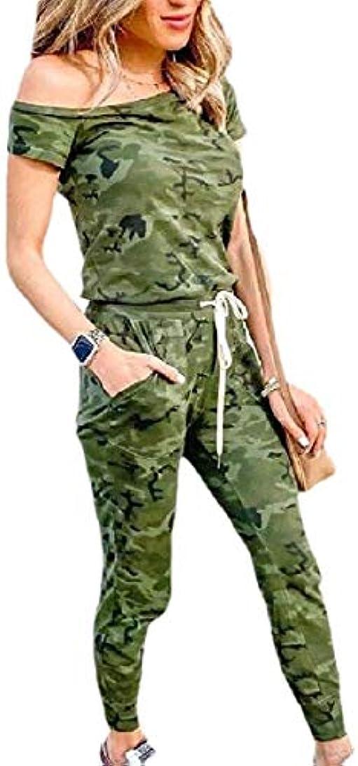 穿孔する遠いジョットディボンドンYIYILIU Women Off Shoulder Elastic Waist Pure Color Loose Playsuit Long Romper
