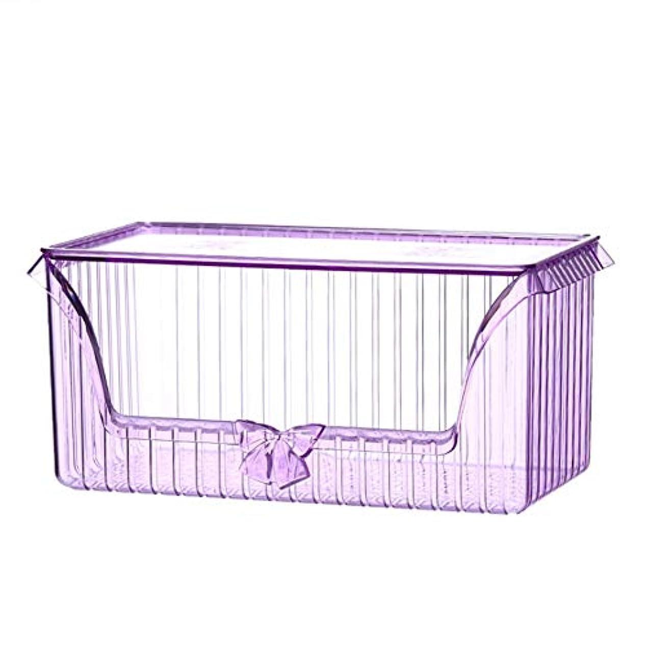 整理簡単 ヴィンテージ化粧品オーガナイザー化粧ディスプレイ収納スタンドホルダージュエリー香水口紅ディバイダーコンテナ引き出し付き大容量ドレッサー寝室の浴室 (色 : 紫の)