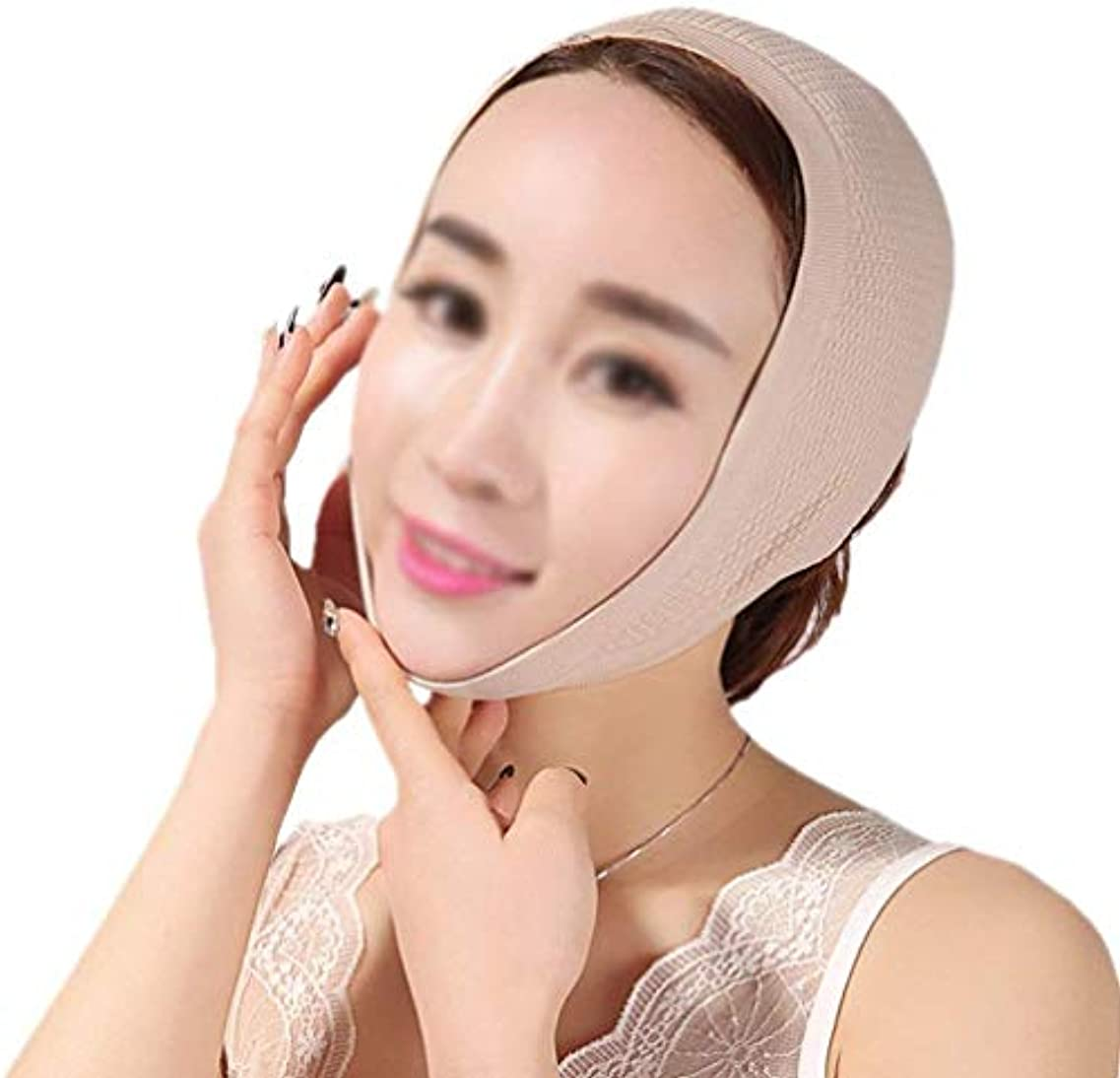 シロクマ盆地分泌するHUYYA 女性の顔を持ち上げるベルト、Vライン頬 しわ防止包帯 二重あごの減量顔,Flesh_Medium