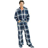 Alexander Del Rossa Mens Fleece Plaid Print Onesie, Hooded Footed Jumpsuit Pajamas