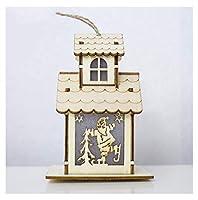 クリスマスクローゼット装飾ペンダントクリスマスダブルデッカーライトキャビン装飾装飾品サンタクローススノーマン木製装飾品4パック,d